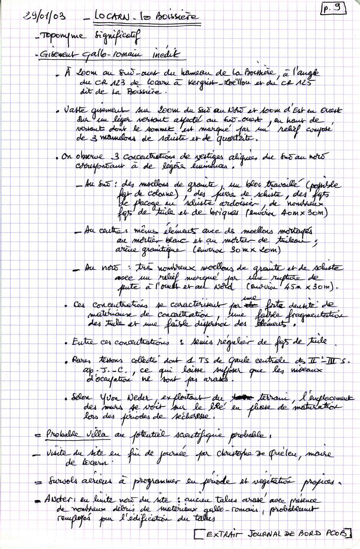 Minutes de terrain . Document A. Provost