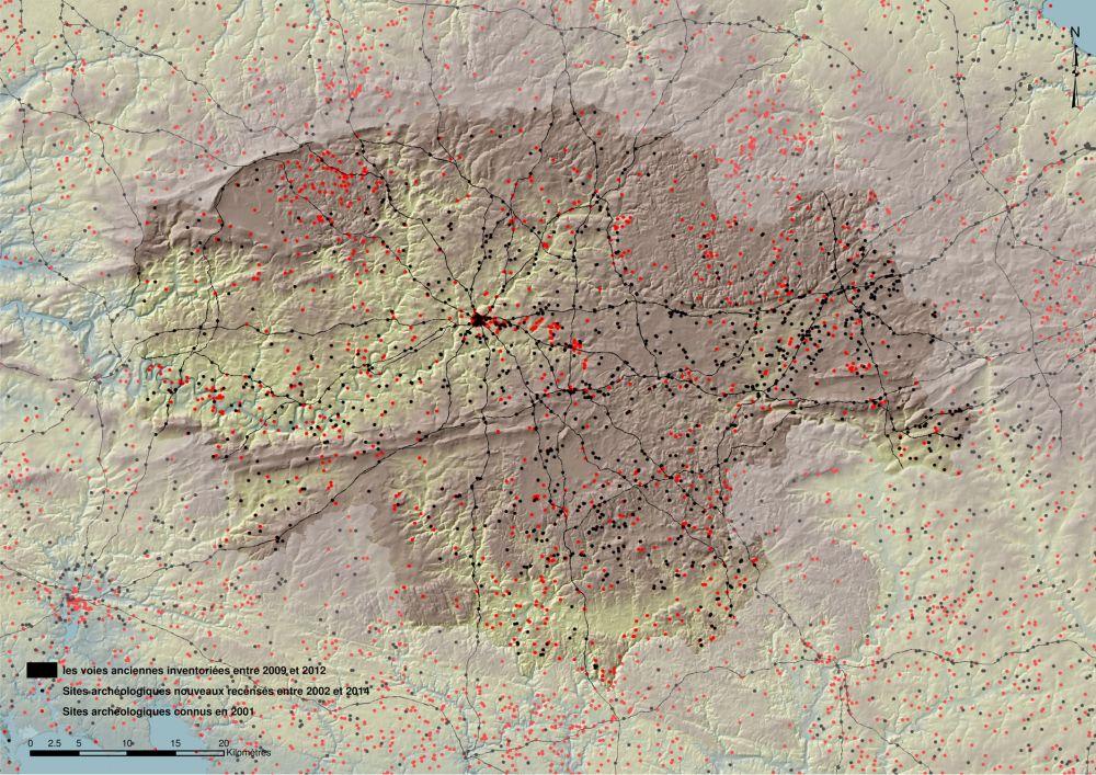 Evolution des connaissances avant et après l'inventaire des sites archéologiques. Carte T. Lorho