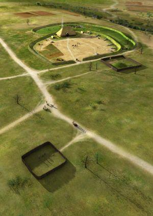Habitat de Paul vers -500 av J.C., déjà une vaste exploitation agricole. Image Y. Menez, L. Stephanon