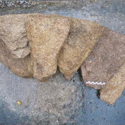 Brignolec, essai de remontage des blocs de parements, B. Leroy