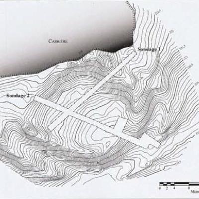 Brignolec, position sondages sur relevé topographique, B. Leroy