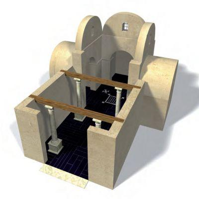 Cahaix, domus de l'hopital, reconstitution  en 3D de la salle d'apparat de la domus en cours de fouille© G. Le Cloirec