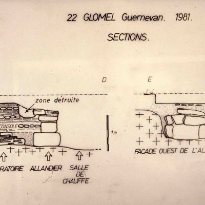 Atelier de Potier de Guernevan. Plan en coupe des vestiges mis au jour. Cliché Drac SRA