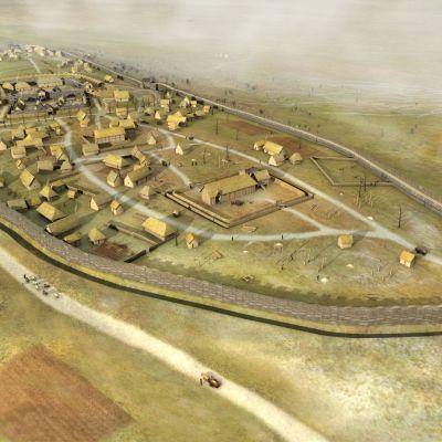 Reconstitution 3D de l'enceinte de Saint-Symphorien au 1er siècle avant notre ère. Image Y. Menez, L.Stephanon