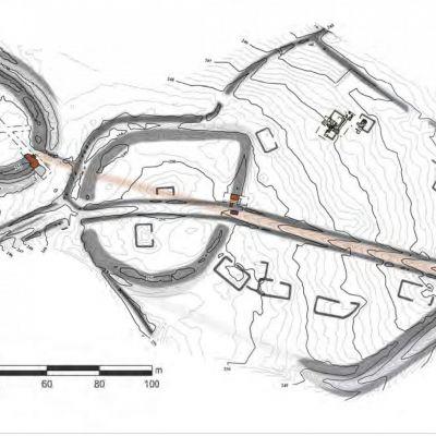 Ploerdut, Enceinte de Kergoac'h-Vilérit. Plan d'ensemble du site. Dao B. Leroy