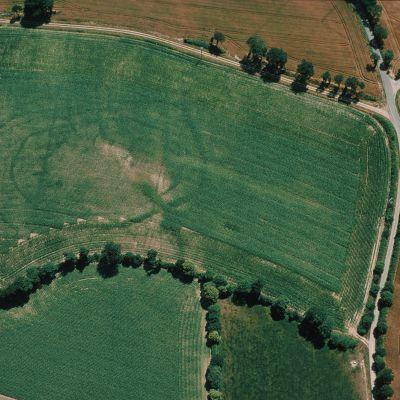 Ferme enclose de Kergolen à Plusslien découverte en prospection aérienne. Cliché M. Gautier